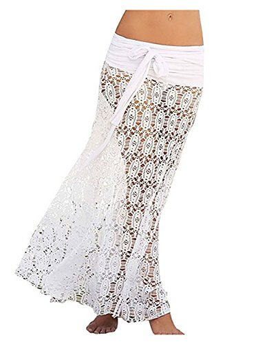 Bestyou® Sexy Swimsuit Covers Lace Bikini Cover up for Beach Fishnet Crochet Skirt (White)