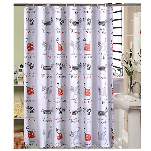 LShe 72 x 72 inches Shower Curtain Cute Cartoon Cat Breeds Colorful Cat Family Pet Red Black Grey Water Soap Resistant Machine Washable Fabric Bathroom Decor Set with Hooks Bath Curtain