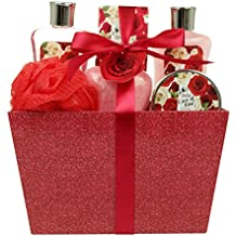 Mothers Day Bath Gift Set - Spa Gift Basket with Love of Rose Fragrance by Lovestee - Bath and Body Gift Set Includes Shower Gel, Bubble Bath, Body Lotion, Bath Salt, Red Bath Puff and Bath Bomb