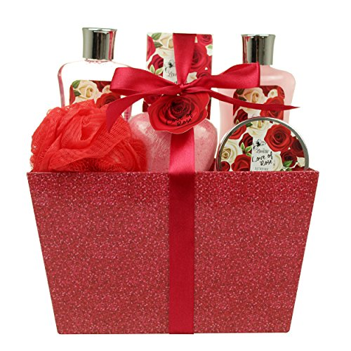 Valentine Bath and Body Set - Spa Gift Basket with Love of Rose Fragrance by Lovestee - Bath and Body Gift Set Includes Shower Gel, Bubble Bath, Body Lotion, Bath - Valentine Ideas Fun Date