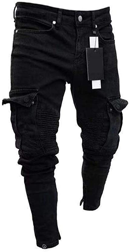 Weentop Pantalones De Mezclilla De Los Pantalones Vaqueros Negros Ajustados Del Dril De Algodon Ocasional Para Hombre Agujero De La Rodilla Pantalones De Mezclilla Con Cremallera Amazon Es Hogar