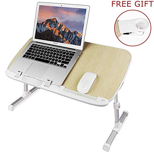 Laptop Stand for Bed with Cup Holder (Larger Size), Pixiri Height Adjustable Lap Desk for Adults and Kids, Laptop Bed Tray, Foldable Laptop Desk, Portable Lap Table for Writing on Couch and Sofa