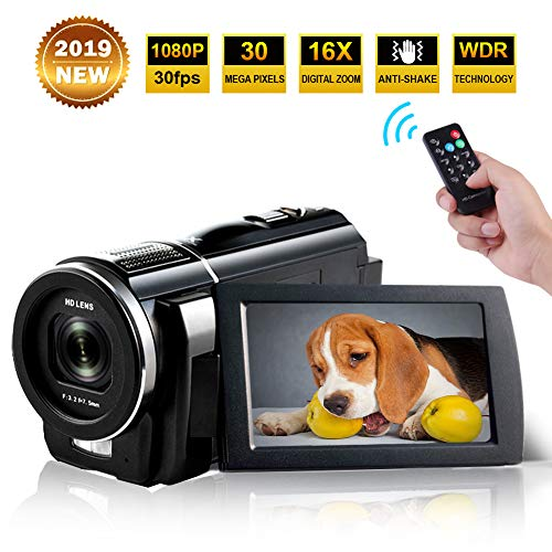 Camcorder Full HD 1080p 30fps 24.0MP Digital Camera Macro Focusing 3 Inch Touch Screen 16x Digital Zoom Video Camera HDMI Output Vlogging Camera for YouTube with Remote Control