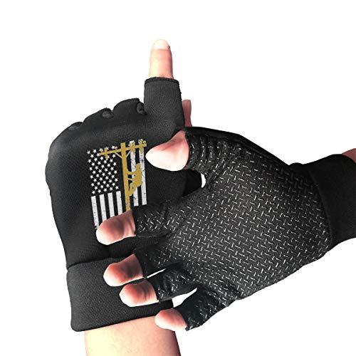 Lineman with American Flag Men's/Women's Half Finger Anti Slip Sports Gloves