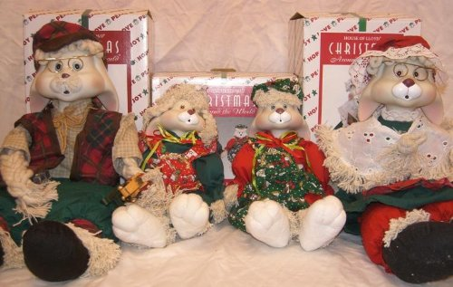 House of Lloyd Christmas Around the World Full Set, Grannie Flo Bunny, Grandpa Lloyd and Hip & Hop Porcelaine Rag Mop Dolls (Porcelain Bunny Doll)