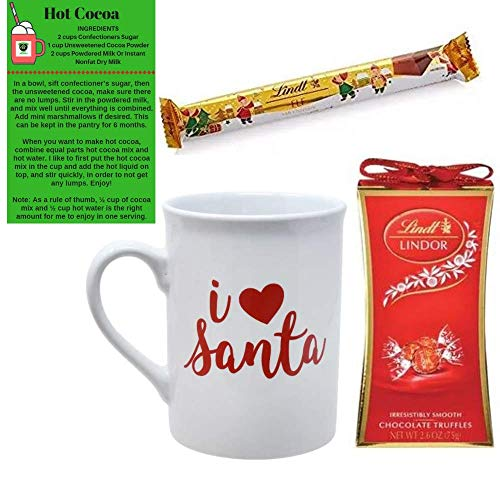 Christmas Sayings Novelty Stoneware Coffee/Tea Mugs, 16 oz. Gift Set 4 Piece Bundle with Two Lindt Lindor Chocolate Gifts with G&G Hot Cocoa Recipe Card (