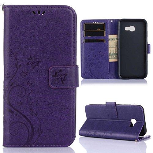 Carcasas y fundas Móviles, Para Samsung Galaxy A5 2017 caso, relieve de la flor de la mariposa diseño PU cuero Flip soporte de la caja para Samsung Galaxy A5 2017 ( Color : Brown ) Dark Purple