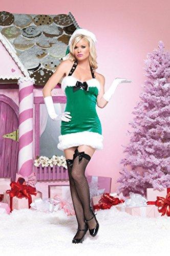 Mememall Fashion Sexy Sleigh Bell Beauty Santa Helper Adult Halloween Costume (Sleigh Belle Sexy Costume)