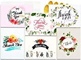 Qz Thank You Cards - 36 Floral Flower Thank You Notes, Bulk Boxed Set - Blank on the Inside - Beautiful Designs - Envelopes and Golden Sticker Included, 4 x 6 Inches Size - Perfect for All Occasions