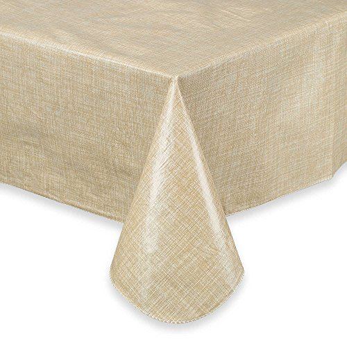 Design Vinyl Umbrella Tablecloth (Vinyl Umbrella Tablelcoth Monterey Natural Flannel Backed 60 x 84 Zippered)