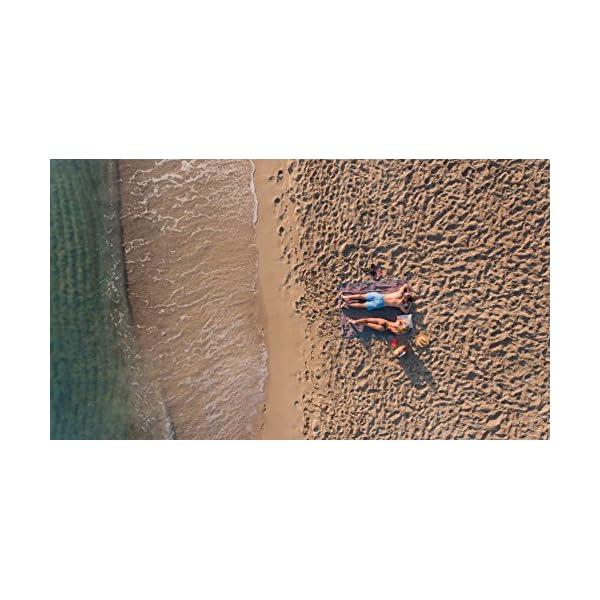 Sowel® Telo Mare Grande, 100% Cotone Organico GOTS, 160 x 200 cm, Asciugamano Mare, Fouta, Blu/Giallo 3 spesavip