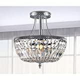 Jessica Crystal Basket Semi-flush Mount Chrome 3-light Chandelier For Sale