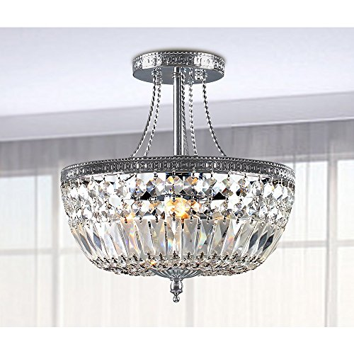 Basket Semi Flush - Jessica Crystal Basket Semi-flush Mount Chrome 3-light Chandelier