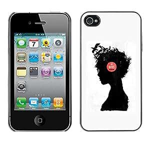 Paccase / SLIM PC / Aliminium Casa Carcasa Funda Case Cover - Music Girl Raven Thought Deep Thinking - Apple Iphone 4 / 4S