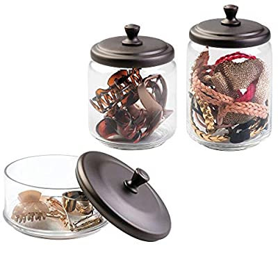 mDesign Glass Apothecary Canister Jar for Bathroom Vanity Countertops - Makeup and Hair Accessory Storage Holders - Organize Combs, Clips, Barrettes, Bobby Pins