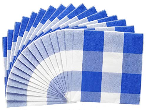 Havercamp Blue and White Plaid Luncheon Napkins | 16 Count | Classic Plaid Collection | Great for Picnic, Barbecue, Cookout, Lumberjack Theme, Playground ()