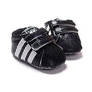 LiveBox Newborn Baby Boys' Premium Soft Sole Infant Prewalker Toddler Sneaker Shoes (S: 0~6 months, Black)