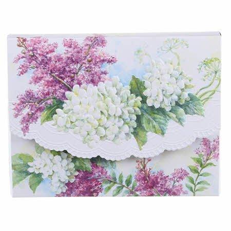 (Carol's Rose Garden White Hydrangeas Blank 10 Card Set Portfolio)