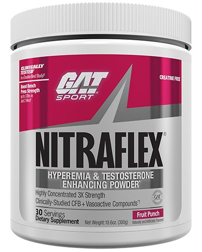 GAT - NITRAFLEX - Testosterone Boosting Powder, Increases Blood Flow, Boosts Strength and Energy, Improves Exercise Performance, Creatine-Free (Fruit Punch, 30 Servings) (Pre Workout Supplements Gat)