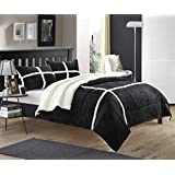 Chic Home 3-Piece Chloe Sherpa Lined Plush Microsuede Comforter Set, Queen, Black