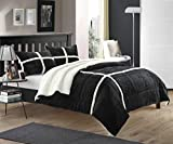 Chic Home Chloe 7-Piece Sherpa Lined Plush Microsuede Comforter Set, Queen, Black, Sheet Set and Pillow Shams Included