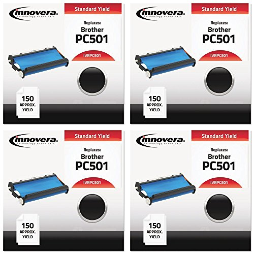 Fax Toner Cartridge for Brother IntelliFax 575 (compatible) Black (IVRPC501), 4 Packs