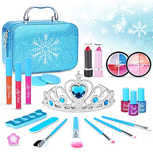 Rllept Toys for 3 4 5 6 7 8 9 Year Old Girls, Kids Makeup Kit for Girl, Washable Makeup for Kids, Frozen Toys for Girls, Princess Toys, Kids Toys for Girls Toddlers Birthday Gifts