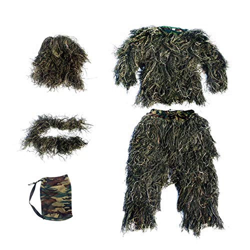 WEIFAN Outdoor Adults 3D Camouflage Poncho Camo Cape Cloak Stealth Ghillie Suit Military CS Woodland Hunting Clothing]()