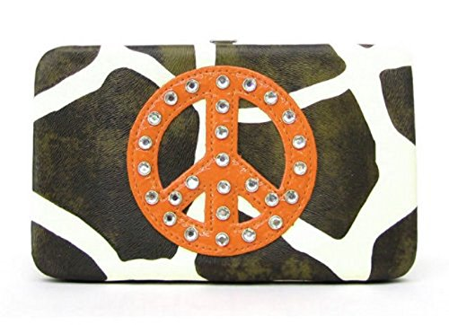(Flat Wallets Giraffe Design with Peace Sign and Rhinestones. Cool (Zebra Print with Orange peace sign))