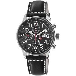 Zeno Men's P557PR-A1 Retro Black Leather Strap Chronograph Dial Watch