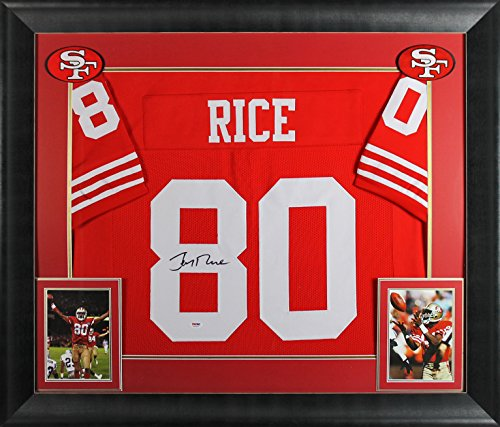 (49ers Jerry Rice Authentic Signed & Framed Red Jersey Autographed BAS Witnessed)