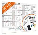 HEA Large Dry Erase Wall Calendar 2019 58' x 48'   Premium New Laminate   Blank Undated, Reusable & Erasable 12 Month Annual Planner   Classroom, Fiscal Year, Office, Project & Family Schedule