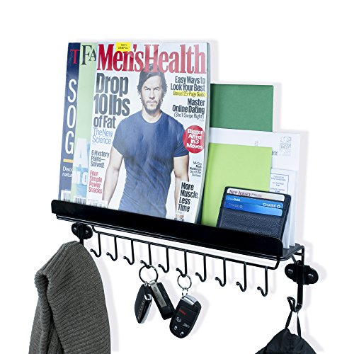 Black Shelf Hooks - WALLNITURE Foyer Wall Mount Mail Key Newspaper Magazine Holder Coat Rack Entryway Organizer with 12 hooks Steel Shelf Ledge Black