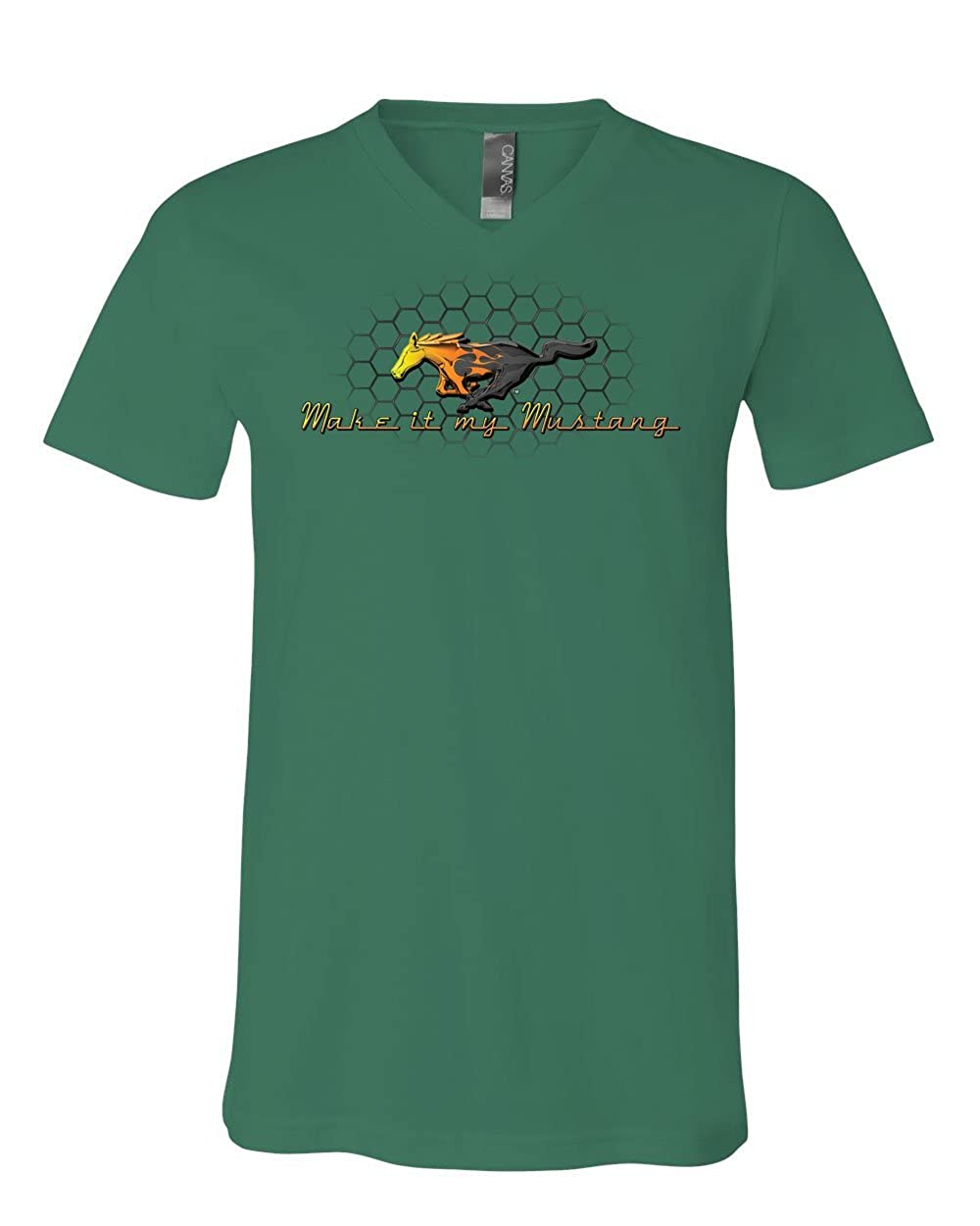Make it My Mustang V-Neck T-Shirt Honeycomb American Classic Fire Horse Tee
