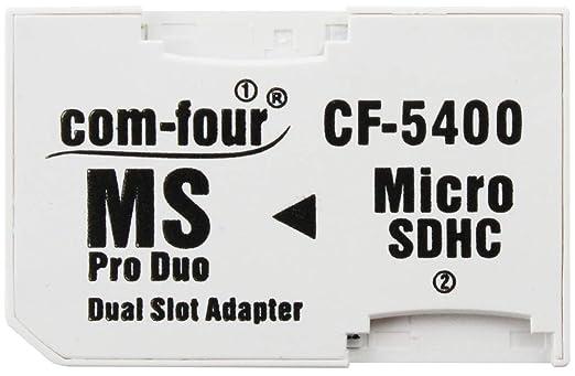 com-four® Adaptador de Tarjeta de Memoria Micro SDHC a MS Pro Duo microSD a Memory Stick para la cámara Sony PSP Teléfono móvil máx. 32GB (1 Pieza)