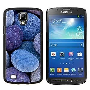 KLONGSHOP // Cubierta de piel con cierre a presión Shell trasero duro de goma Protección Caso - Natural Stones Pebbles Beach - Samsung Galaxy S4 Active i9295 //