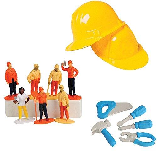 Construction Toy Party Favor Supplies Set for 12 Bundle 44 Pieces Figures Erasers Helmets (Construction Theme Party Ideas)