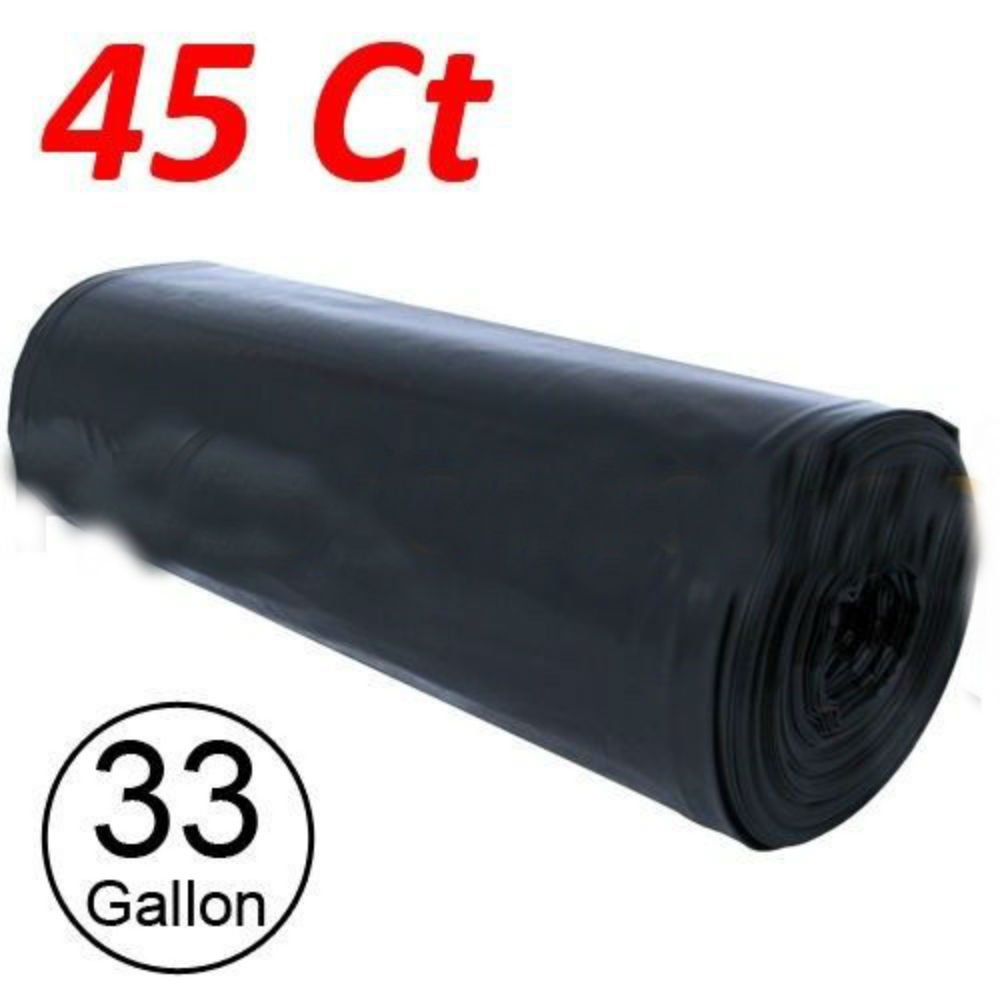 45 Large 33 Gallon Strong Commercial Trash Bag Heavy Garbage Duty Yard (Black)