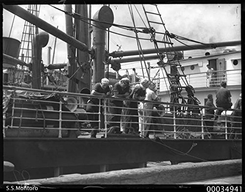 poster-view-ss-montoro-showing-six-crewmen-leaning-ships-rail-1920-1950-burns-philp-and-company-ltd-