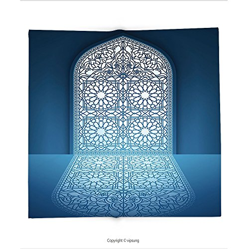Custom printed Throw Blanket with Arabian Decor Collection Doors of Antique Old Mosque Grace Faith Theme Islamic Eid Ethnic Illustration Print White Turquoise Super soft and Cozy Fleece Blanket (Arabian Theme Party Dress)