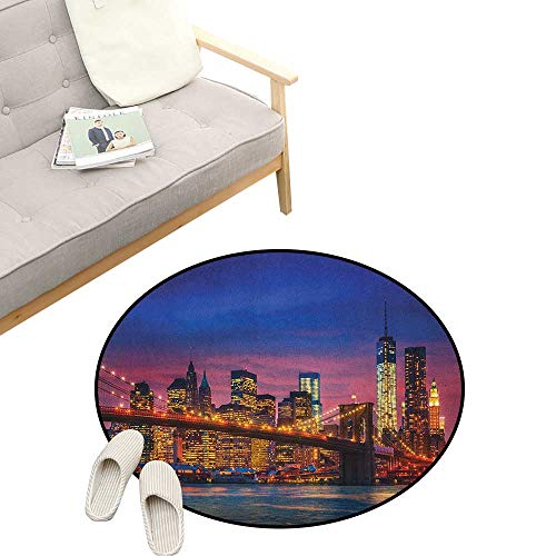 - New York Round Carpet ,NYC That Never Sleeps Reflections on Manhattan East River City Image Photo Print, Kids Room Bedroom Bedside Rug 23