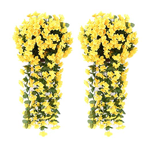(Evoio Artificial Violet Ivy Flowers, 2PCS DIY Hanging Basket Garland Wedding Wall Ratta Silk String Floral Decoration (Yellow))