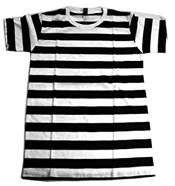 Amazon.com: Men's Black & White Striped Rockabilly Punk T Shirt (S ...