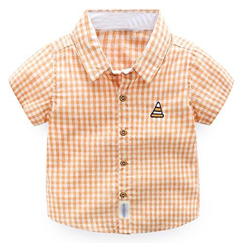 Price comparison product image CATERTO Boy 's Cotton Plaid Short Sleeve Button Down Sports ShirtsOrange3-4T(110#)