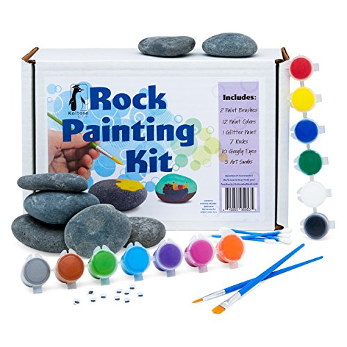 Rock Painting Kit, Rock Painting Supplies Set, River Rock Arts and Crafts Projects for Kids and Adults (Kit Craft Garden)