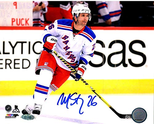 - Martin St. Louis Signed Skating In White Rangers Jersey 16x20 Photo - Steiner Sports Certified - Autographed NHL Photos