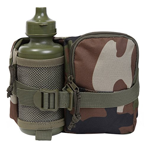 Kids Army Woodland Camo Fanny Pack & Water Bottle - Camouflage Waist Bag