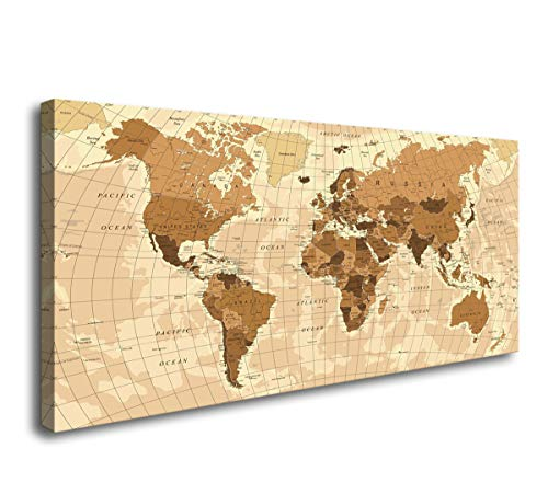 youkuart Large World Map Canvas Wall Art for Home Decor Map of The World Posters Prints Painting Modern Artwork Wooden Framed Maps Office Decor Ready to Hang