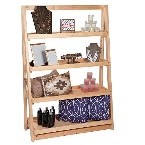 SSWBasics A-Frame 4-Tier Wood Shelf Display (42
