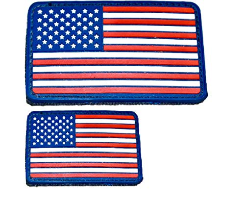 - Diezel Pet Products American Flag Morale Patch Two Pack - PVC Rubber Patches Show United States Pride Hook Loop RED White Blue OR Thin Blue LINE 2 X 3 INCH Plus Small 1.5 X 2.5 INCH Sizes (RWB)